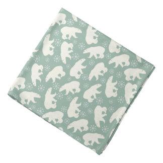 Grön vinterBandana med polara björnar Bandana