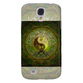 Grön Yin Yang Mandala med livets träd Galaxy S4 Fodral