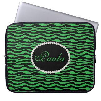 Grön zebra tryck för chic med Monogramlaptop Laptop Fodral