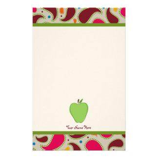 Gröna Apple & Paisley personliglärare Brevpapper