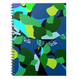 Gröna blått Patterened Anteckningsbok Med Spiral