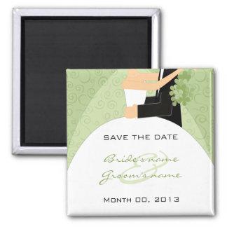 Gröna brud- och brudgumspara datum magneter