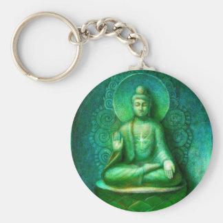 Gröna Buddha Rund Nyckelring