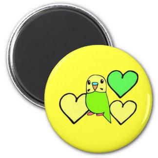 Gröna Budgie med hjärtor Kylskåps Magneter