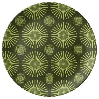 Gröna cirkulärblommor porslinstallrik