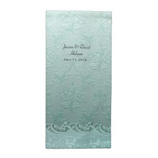 Gröna damastast bröllopservetter för Mint Tygservett