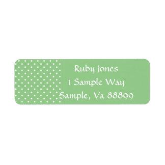 Gröna etiketter för Apple polka dotsmall Returadress Etikett