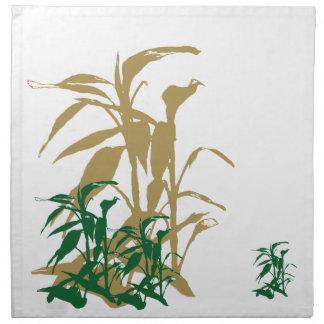 Gröna guld- bambuservetter tygservett