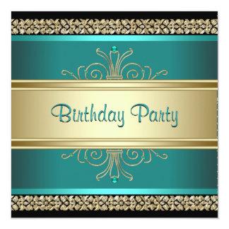 Gröna guld- svart kvinna för Jade födelsedagsfest Fyrkantigt 13,3 Cm Inbjudningskort