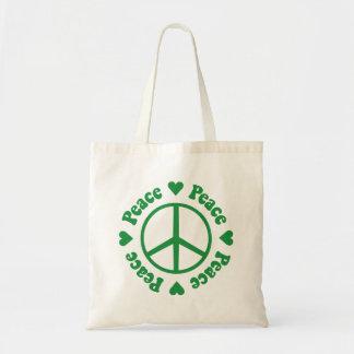 Gröna hjärtor och fredstecken budget tygkasse