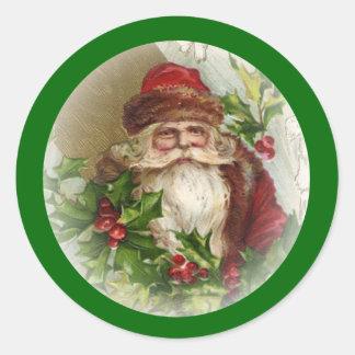 Gröna klistermärkear för vintagejultomtenjul runt klistermärke