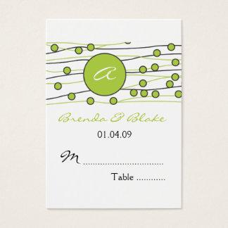 Gröna kort för placering för Monogrambröllopbord