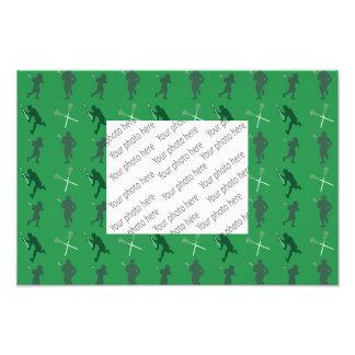 Gröna lacrossesilhouettes fototryck