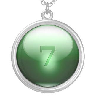 Gröna lyckliga 7 silverpläterat halsband