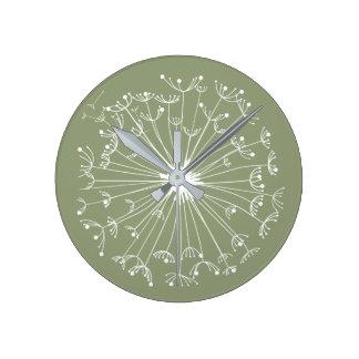 Gröna maskrosor rund klocka
