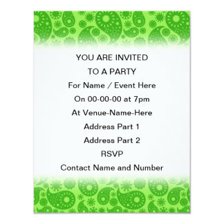 Gröna Paisley. 10,8 X 14 Cm Inbjudningskort