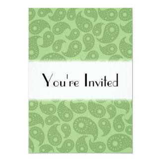 Gröna Paisley. 12,7 X 17,8 Cm Inbjudningskort