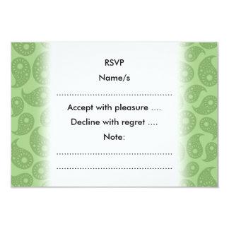 Gröna Paisley. 8,9 X 12,7 Cm Inbjudningskort