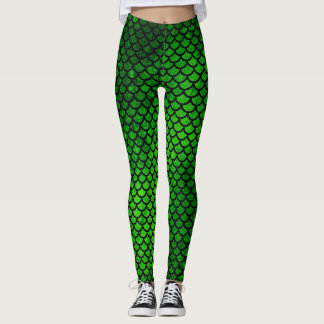 Gröna sjöjungfrufjäll flår mönsterdamasker leggings