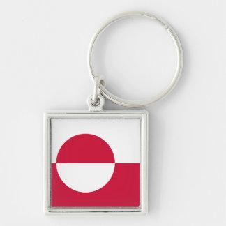 Grönlandflagga Keychain Fyrkantig Silverfärgad Nyckelring
