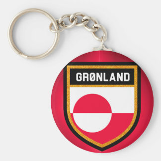Grönlandflagga Rund Nyckelring