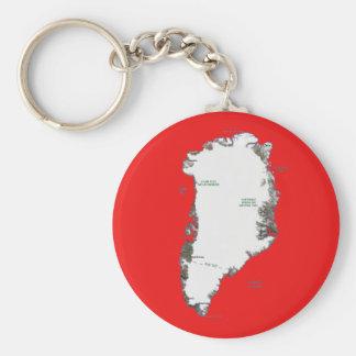 Grönlandkarta Keychain Rund Nyckelring
