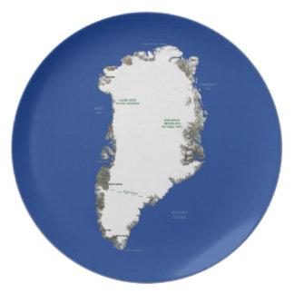 Grönlandkartan pläterar tallrik