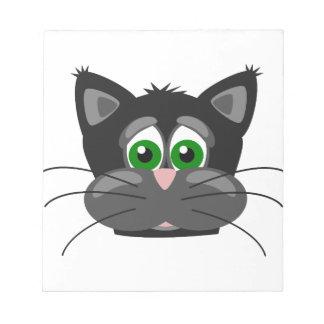 Grönögd svart katt anteckningsblock