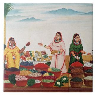 Grönsaken och kryddan marknadsför på Benares, c.18 Kakelplatta