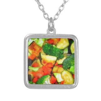 Grönsaker - grönsakuppståndelsesmåfisk silverpläterat halsband