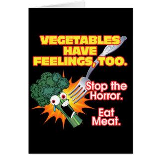 Grönsaker har känslor, för hälsningskort