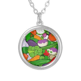 Grönsakmönster Silverpläterat Halsband