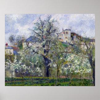 Grönsakträdgården med träd i blommar affisch