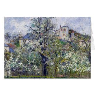 Grönsakträdgården med träd i blommar hälsningskort