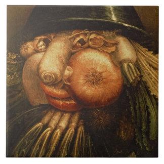 Grönsakträdgårdsmästaren, c.1590 (olja på panel) kakelplatta