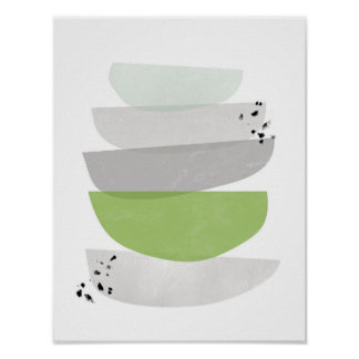 grönskaabstrakt, minimalist affischtryck poster