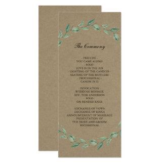 Grönskakran & lantlig Kraft | bröllopsprogram 10,2 X 23,5 Cm Inbjudningskort