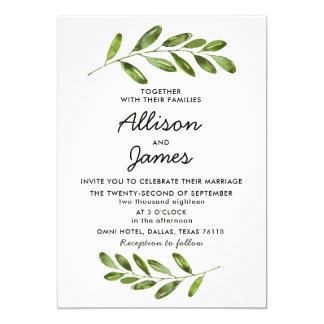 Grönskakranen lämnar modern bröllopinbjudan 12,7 x 17,8 cm inbjudningskort