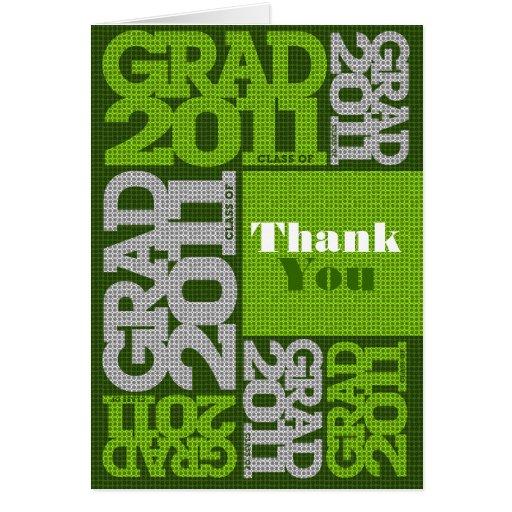 Grönt 2011 för mönster för studententackkort kort