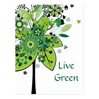 Grönt abstrakt träd vykort