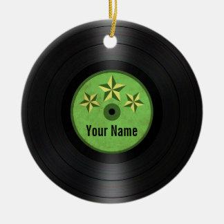 Grönt album för rekord för stjärnapersonligvinyl julgransprydnad keramik