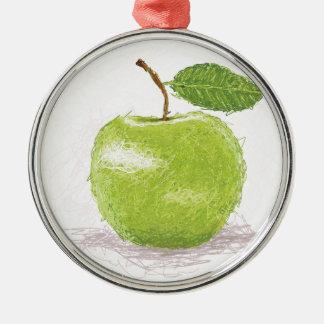 grönt äpple julgransprydnad metall