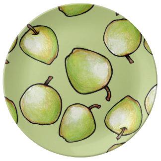 Grönt Apple mönster Porslinstallrik