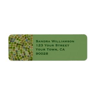 grönt belägger med tegel returadress etikett