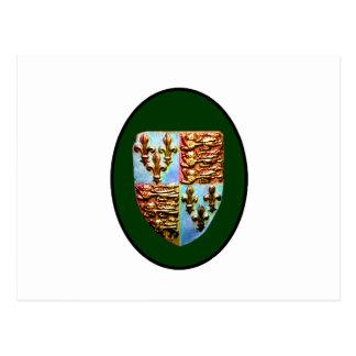 Grönt bg för England Canterbury kyrkavapensköld Vykort