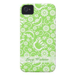 Grönt blom- blackberry boldfodral för vintage Case-Mate iPhone 4 fodral