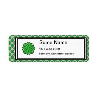 Grönt blommaband returadress etikett
