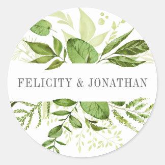 Grönt botaniskt bröllop för vildäng | runt klistermärke