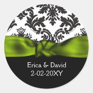 grönt bröllop för damast runt klistermärke