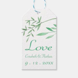 Grönt bröllop för vattenfärg för kärleklagrarlöv presentetikett